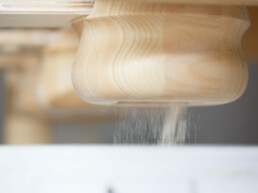 Ground flour output from the Pompeii Pizza stone-ground mill