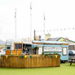 The Coffee & Gelato food trailer and the Pompeii Pizza mobile pizzeria trailer in Waterville