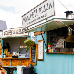 Close-up of the Coffee & Gelato food trailer and the Pompeii Pizza mobile pizzeria trailer in Waterville