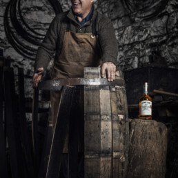 Coopering skills demonstrated by Ger Buckley as he re-constructs a wooden barrel